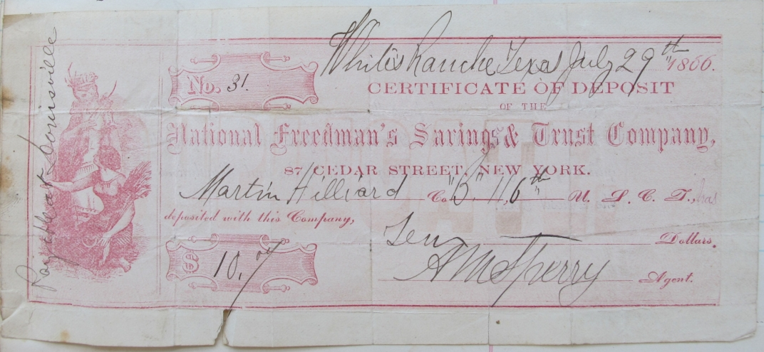 certificate of a $10 deposit in the Freedman's Bank by a black soldier
