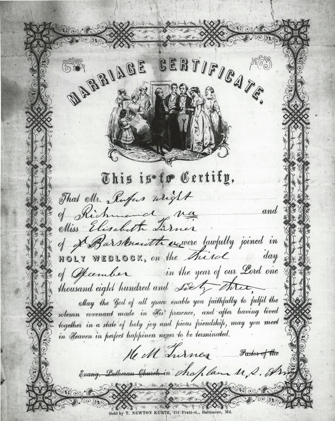 marriage certificate of Elisabeth Wright and Rufus Wright